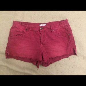 Free People cut off denim shorts, rust, 31